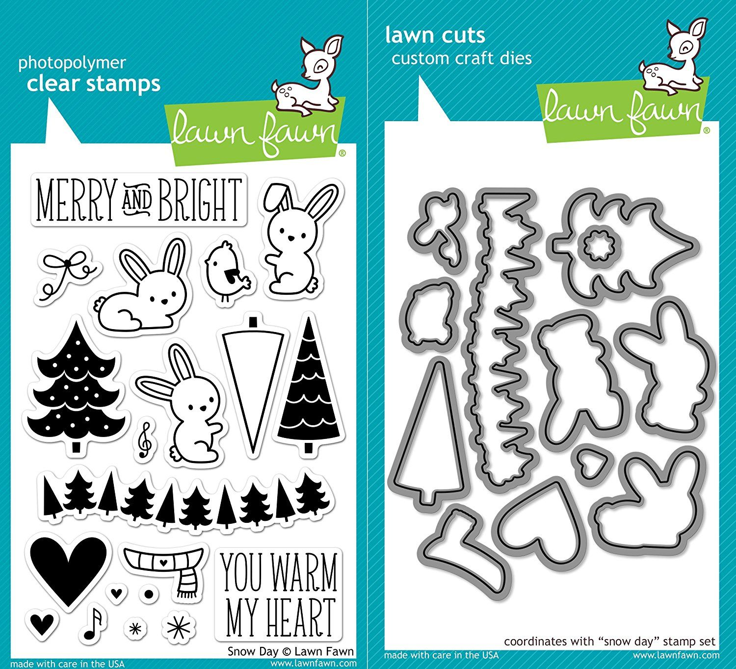 Amazon Lawn Fawn Snow Day Clear Photopolymer Stamps Bundle