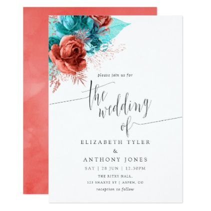 Turquoise and Coral Watercolor Floral Wedding Invitation | Zazzle.com #turquoisecoralweddings