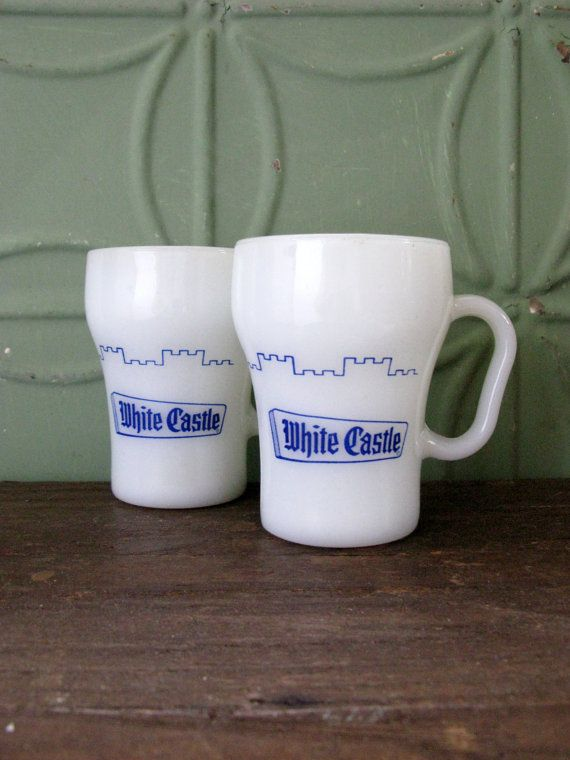 white castle mugs fire king anchor hocking milk glass by sfuso