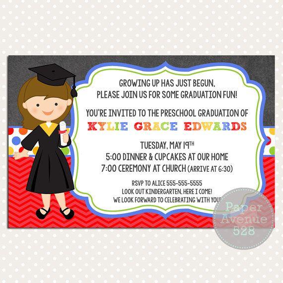 Girls Graduation Invitations Chalkboard Premade By PaperAvenue528