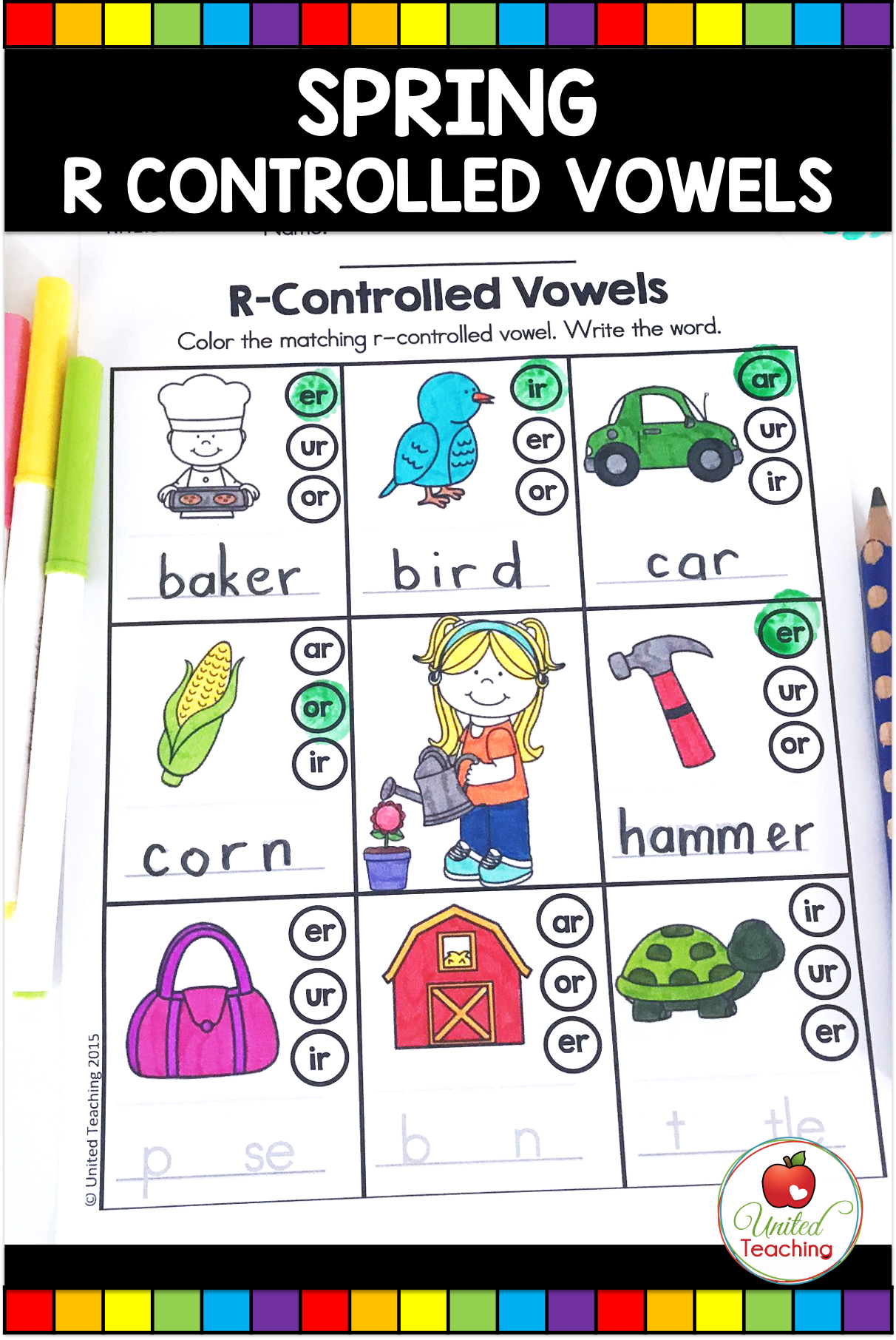 small resolution of Spring Math and Literacy Activities (1st Grade) - United Teaching   R  controlled vowels activities
