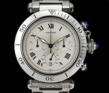 Cartier Stainless Steel Cream Dial Chrono Pasha Gents Wristwatch
