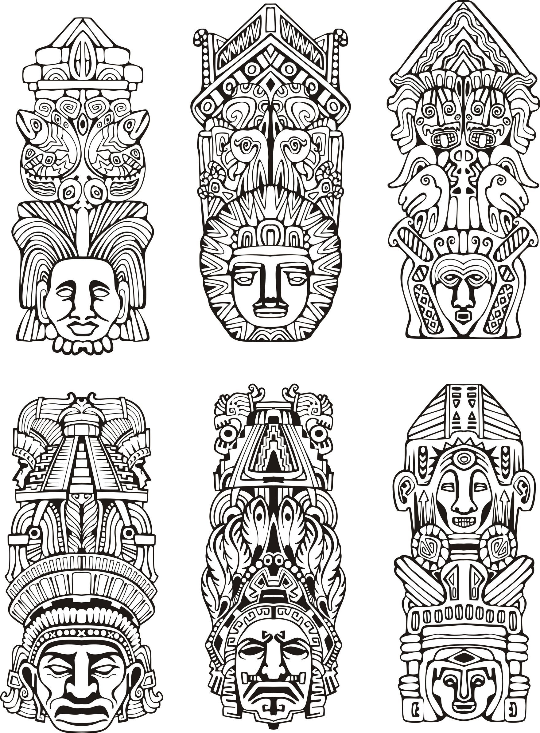 Aztec Totem Coloring Color Art Therapy