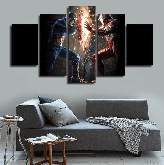 5 Panel Framed Captain America Vs Iron Man Canvas Wall Art | Wall canvas,  Capt america and Iron