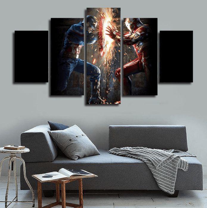 5 Panel Framed Captain America Vs Iron Man Canvas Wall Art