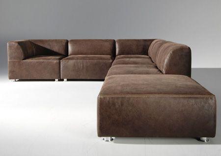 Sofa modern leder  Multifunctionele elementen hoekbank en bank Cubix in leder ...