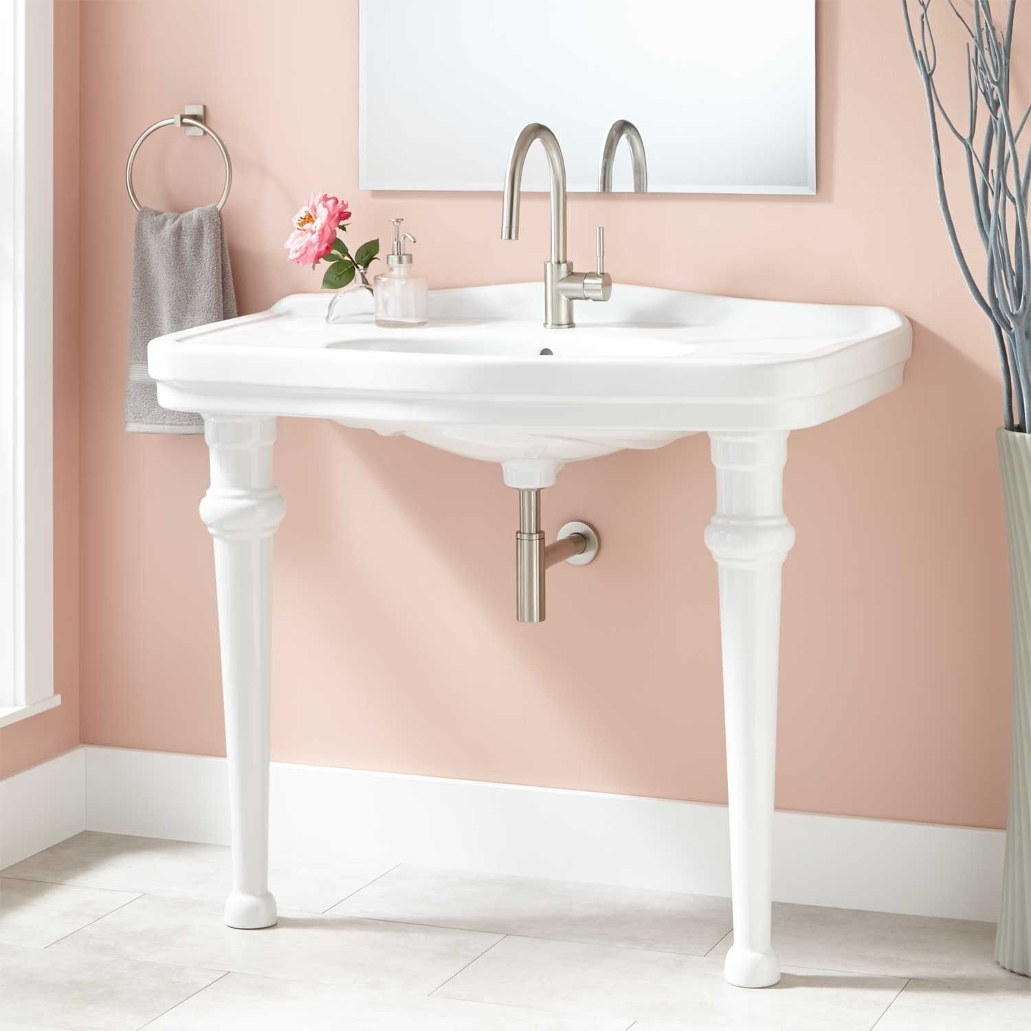 Final 42 Peloso Console Sink From Signature Hardware Online 919 95 With Drain And