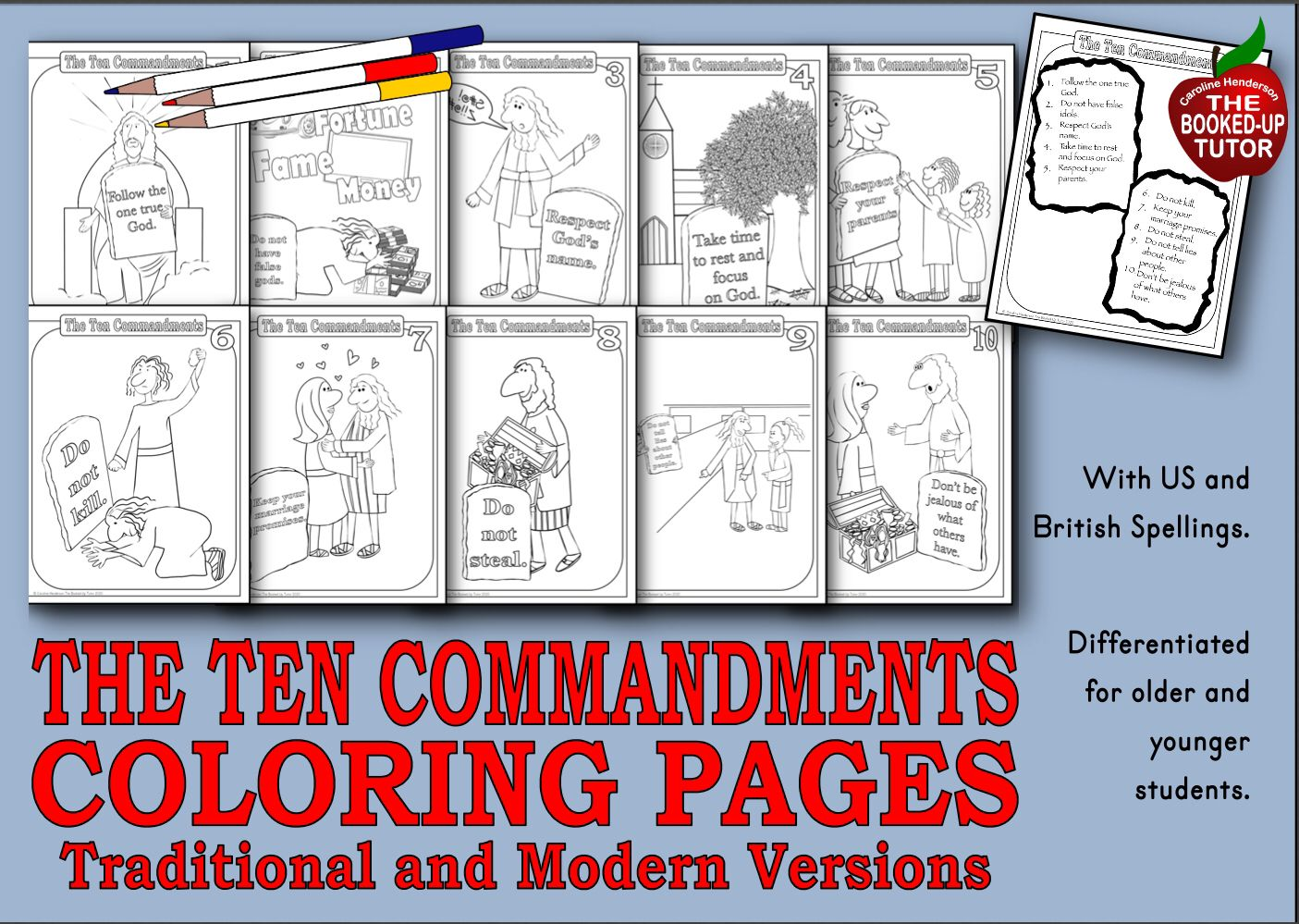 Ten Commandments Coloring In