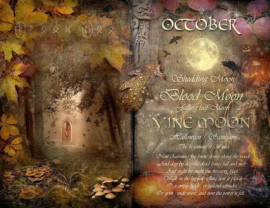 "Book of Shadows Moon:  ""October: Vine Moon,"" by Angie Latham. It makes a lovely Moon page for a Book of Shadows."