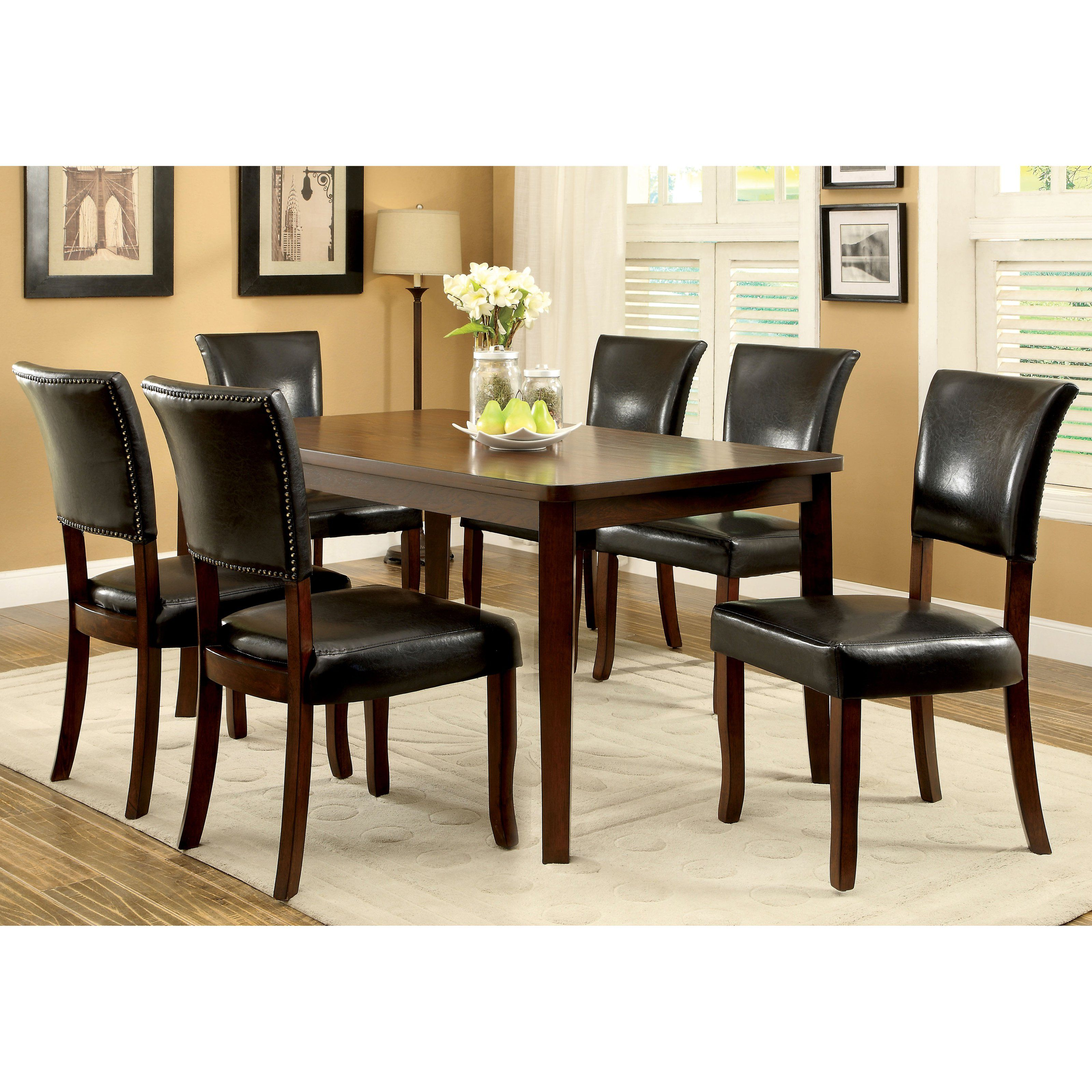 Furniture of America Claxton 7 Piece Dining Table Set with