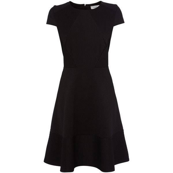 Little Black Dress | Black KIRSTY RIBBED SKATER DRESS | Coast Stores... ❤ liked on Polyvore featuring dresses, black dress, skater dress, black day dress, black skater dress y rib dress