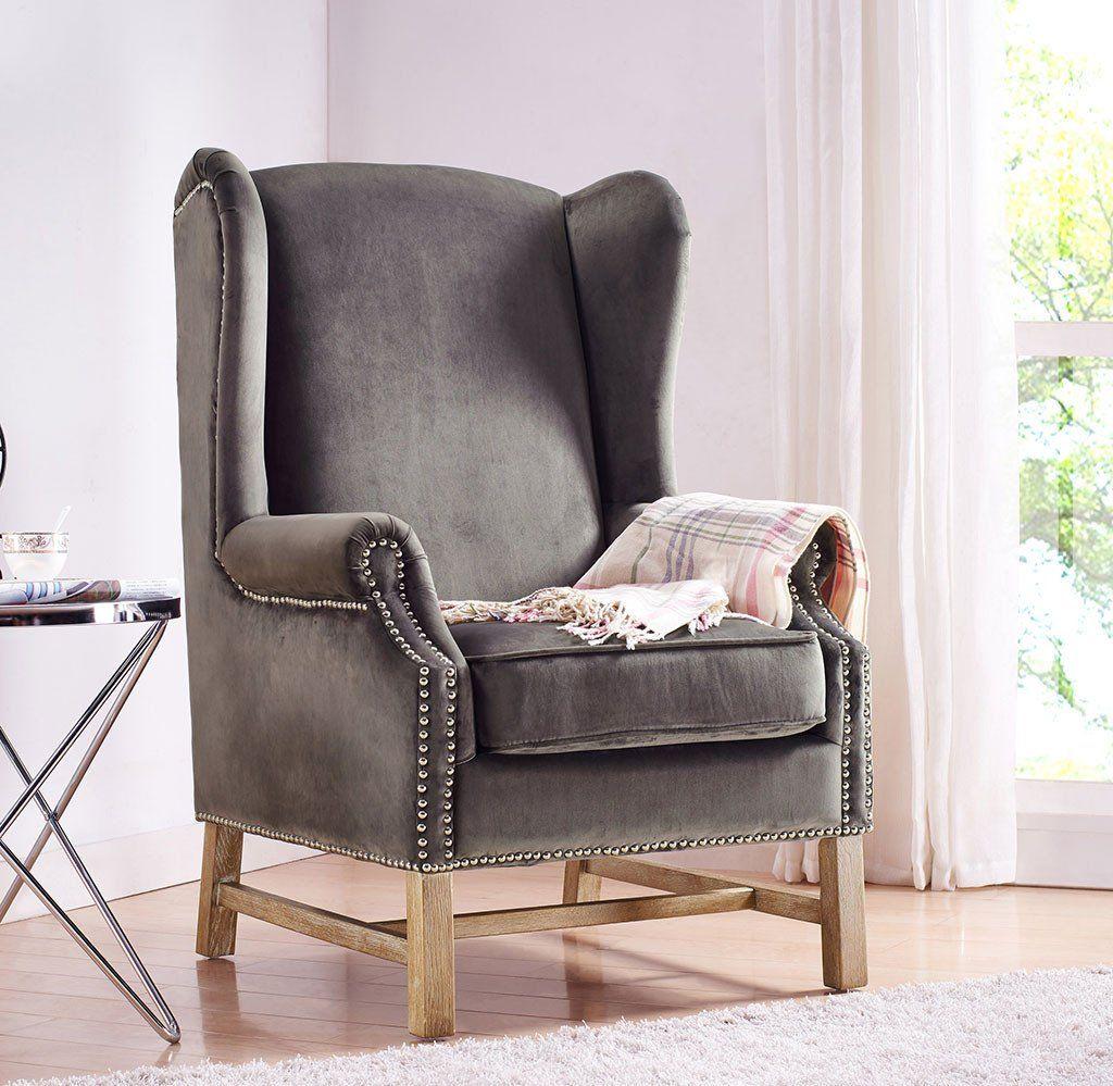 Norcross Gray Velvet Chair In 2021 Velvet Wingback Chair Velvet Wing Chair Types Of Living Room Chairs