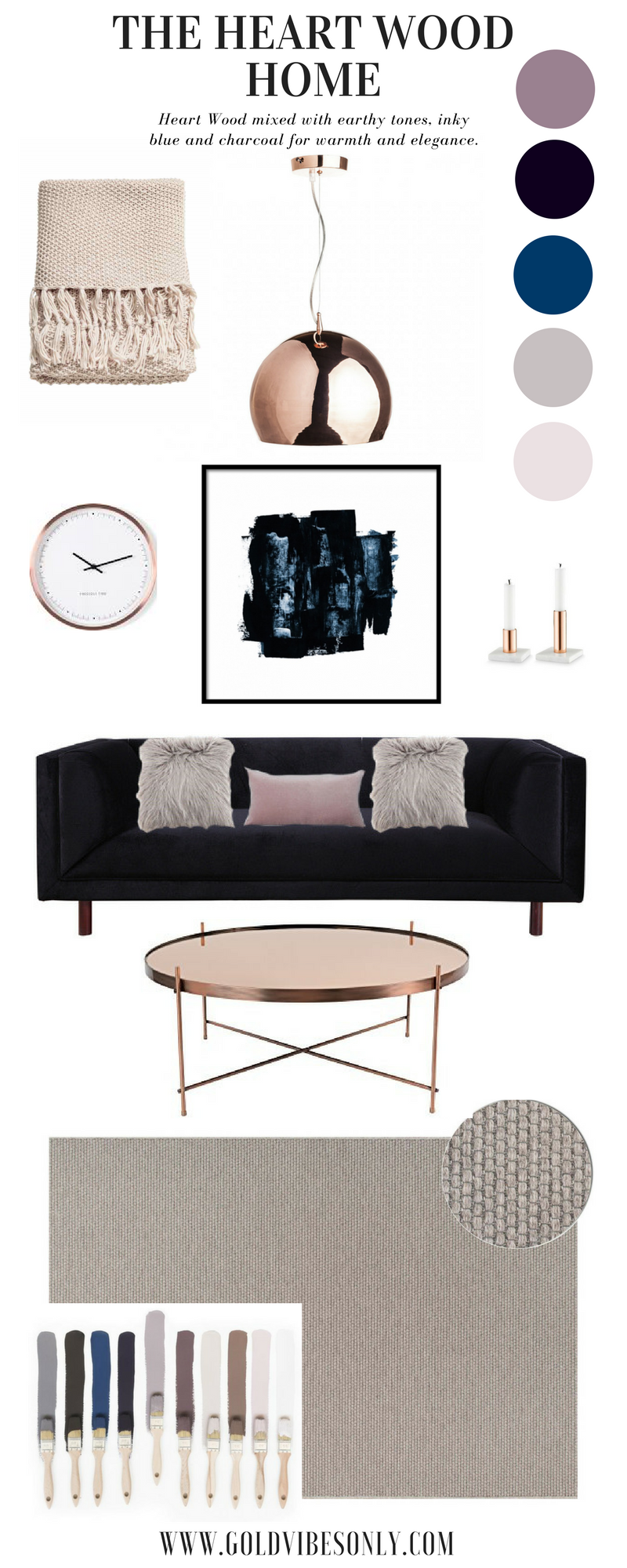 Dulux Colour of the Year Heart Wood interior home décor inspiration colour palettes The Heart Wood Home rug copper coffee table black navy sofa tom Dixon copper light