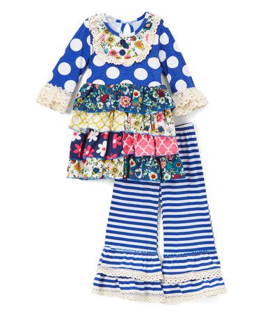 Another great find on #zulily! Royal Blue Polka-Dot Lace Ruffle Dress & Pants - Toddler & Girls #zulilyfinds