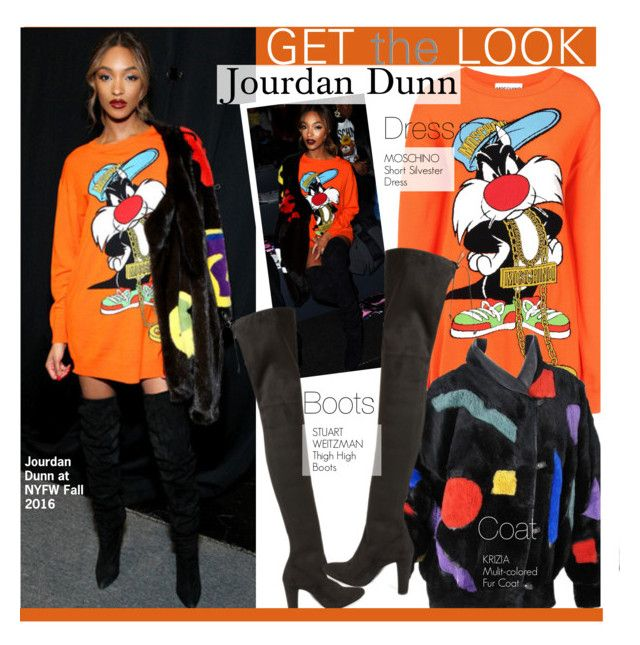 """""""Get The Look-Jourdan Dunn at NYFW"""" by kusja ❤ liked on Polyvore featuring Moschino, Krizia, Dunn, Stuart Weitzman, women's clothing, women, female, woman, misses and juniors"""