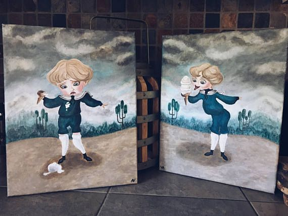 Two Acrylic Reproductions Of Paintings Of Boring Blue Boy And Coraline Coraline Aesthetic Painting