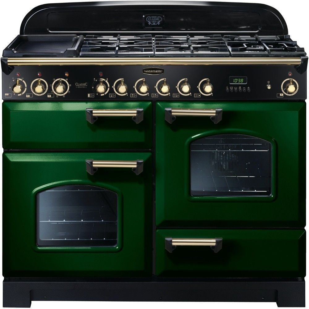 Rangemaster Classic Deluxe 110 Dual Fuel Racing Green Brass Range Cooker 112900 Range Cooker Dual Fuel Range Cookers Induction Range