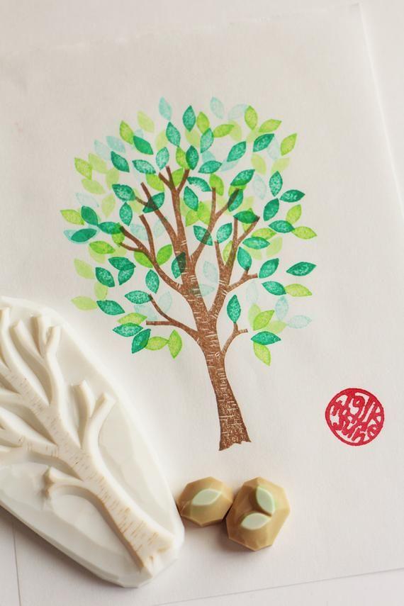 birch tree rubber stamp tree trunk leaf hand carved stamps | Etsy #eraserstamp