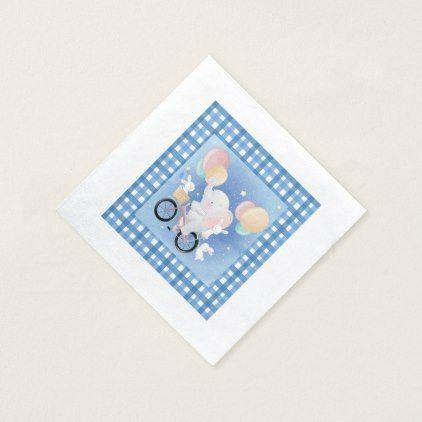 Baby Blue Elephant Baby Shower Paper Napkins | Zazzle.com #papernapkins