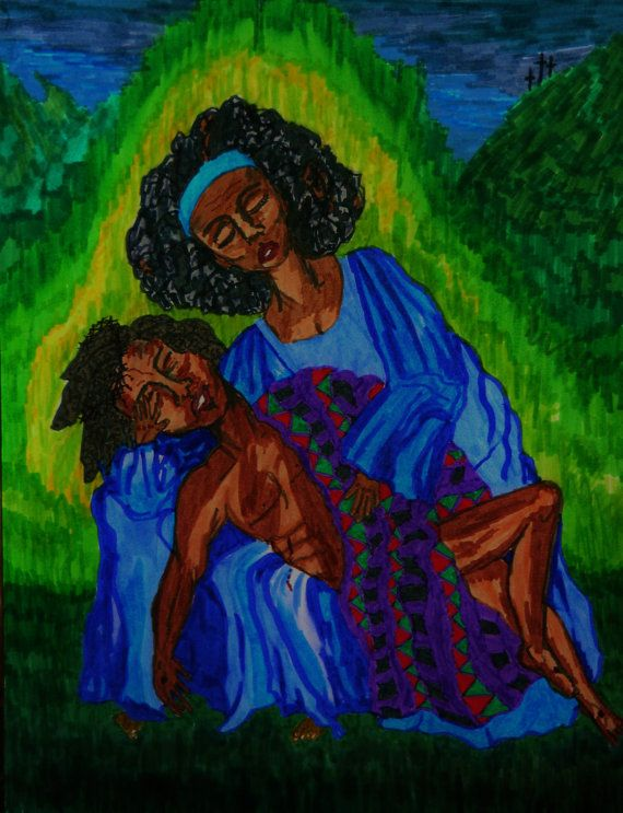 Marker Painting PIETA-2 Black Pieta Ethnic Folk by StaceyTorresART