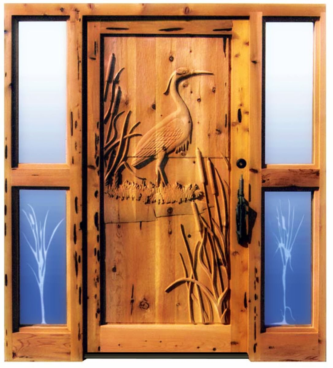 Lovely carved wood and etched glass side panels for log cabin entry ...