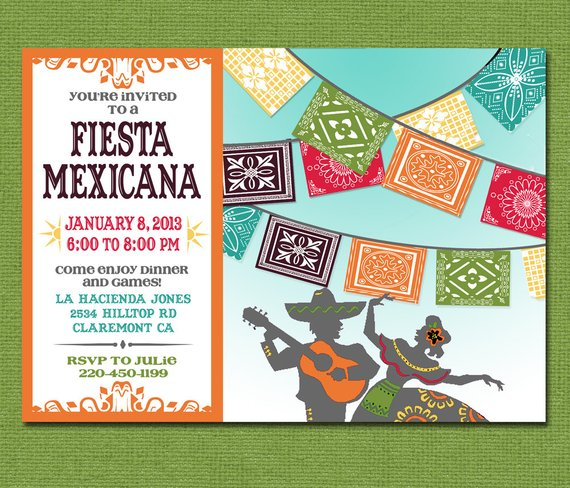 Print Yourself Mexican Fiesta Invitation Custom Printable Party