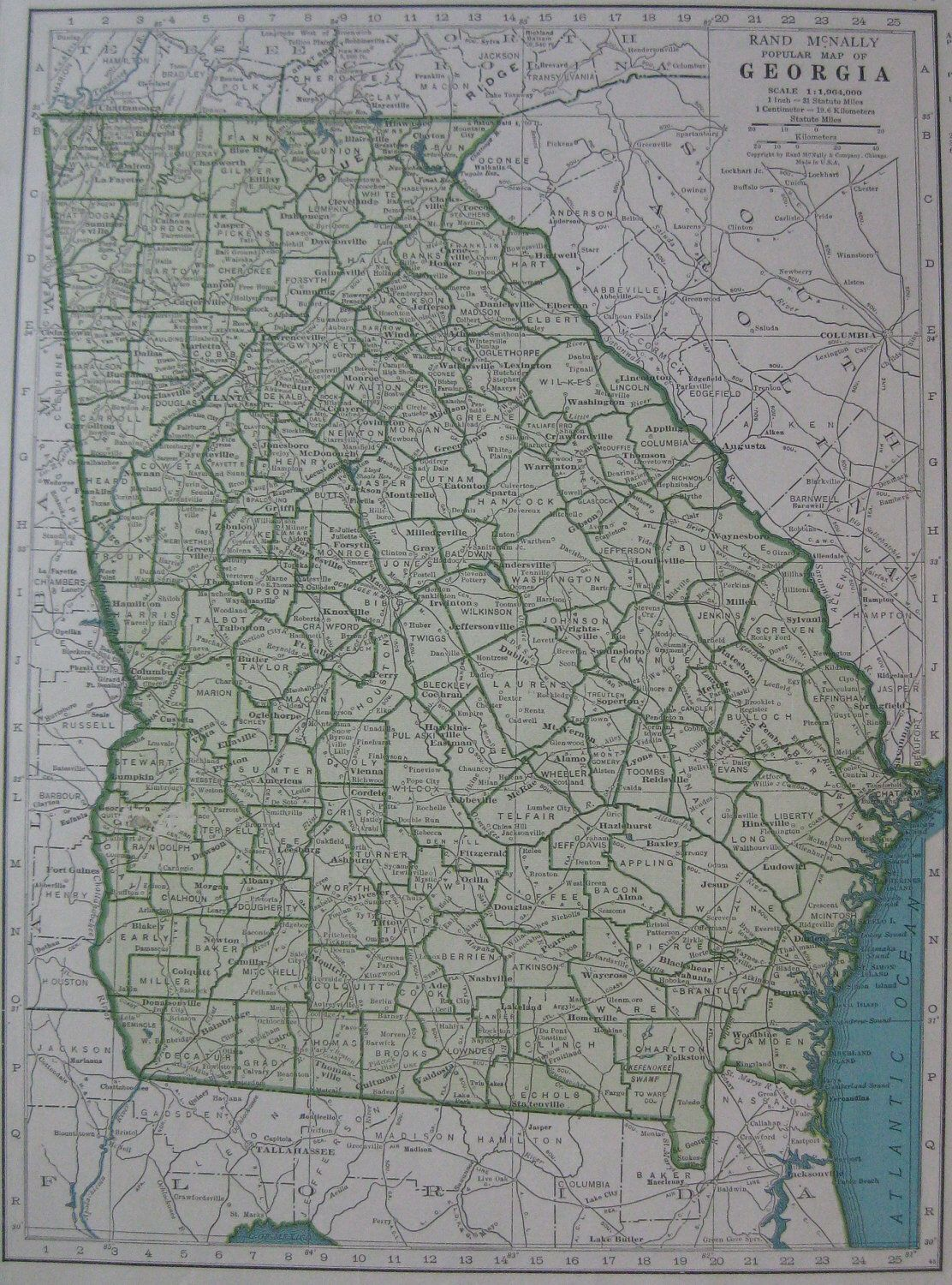 Vintage GEORGIA Map S State Map Of Georgia From Wall - Georgia map 1921