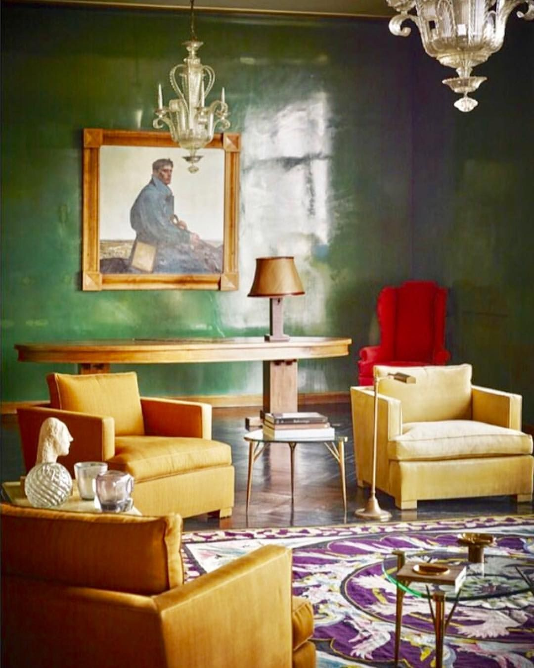 Parisian Penthouse Designed By Maison Jansen In 1948 With A Painting By Rene George Gautier Parchment Lamp By Paul Dupre Lafon Rug Interior Inredning Mobler
