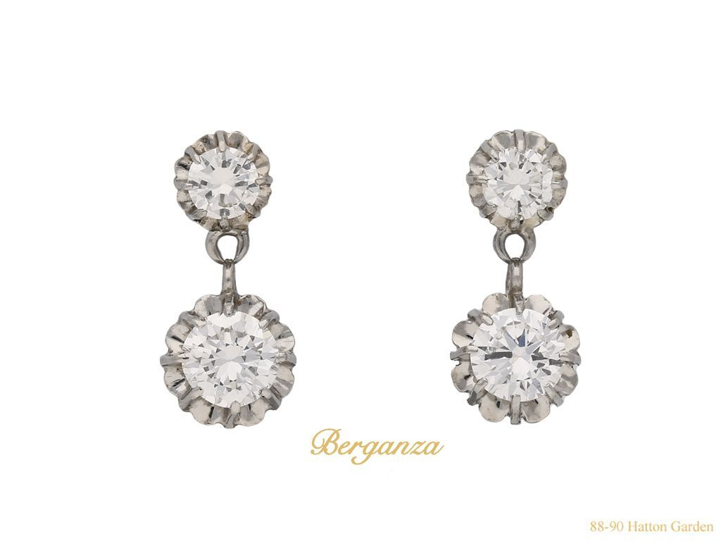 e77d629c14f032 Vintage diamond drop earrings, French, circa 1950. | Earrings To ...
