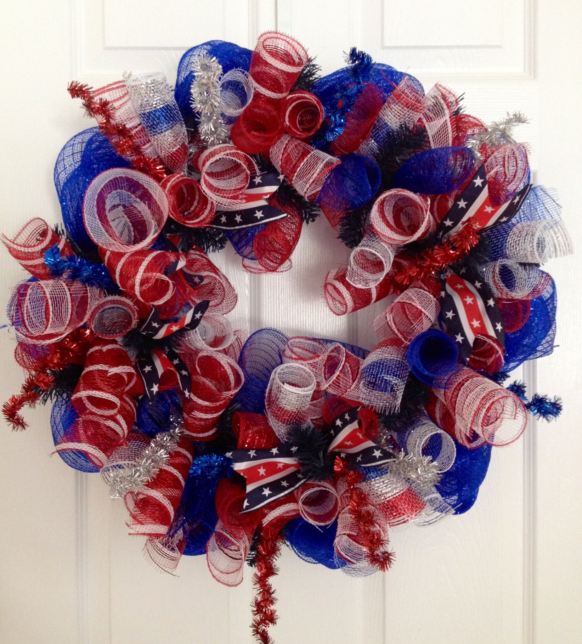 Curly patriotic deco mesh wreath!
