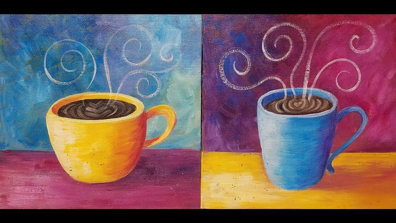 Coffee Cup Acrylic Painting Tutorial Live Easy Beginner Kitchen Art Free Coffee Art Painting Coffee Painting Canvas Diy Canvas Art