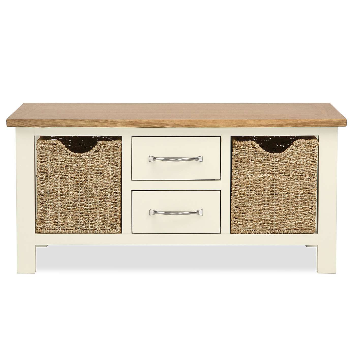 Sidmouth Cream Coffee Table With Baskets Dunelm