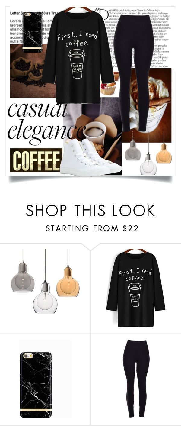 """#coffee"" by jcmass11 ❤ liked on Polyvore featuring Balmain, Converse, women's clothing, women, female, woman, misses and juniors"
