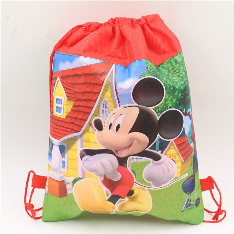 289a1626b0ca 1pcs mickey mouse cartoon non-woven fabrics backpacks kid school bag  drawstring bag event party supplies birthday christmas gift