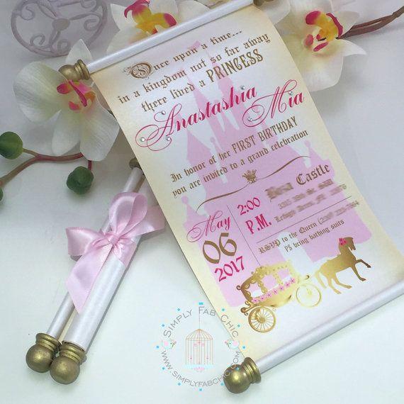 Royal Princess Carriage Scroll Invitation Birthday Wedding – Princess Scroll Birthday Invitations