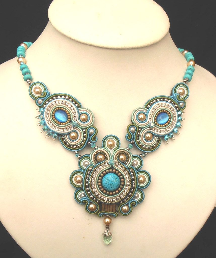 Beaded Soutache necklace in Dark Turquoise, Green, Silver and Cream. $190.00, via Etsy.