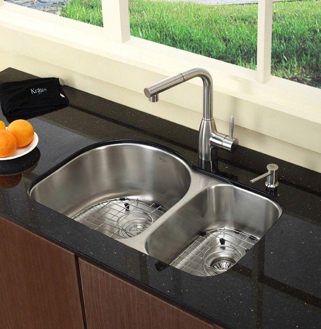 Kraus 30 Inch Undermount 60 40 Double Bowl Stainless Steel Kitchen
