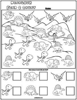 find count dinosaur characters my tpt store kindergarten lesson plans math for kids. Black Bedroom Furniture Sets. Home Design Ideas