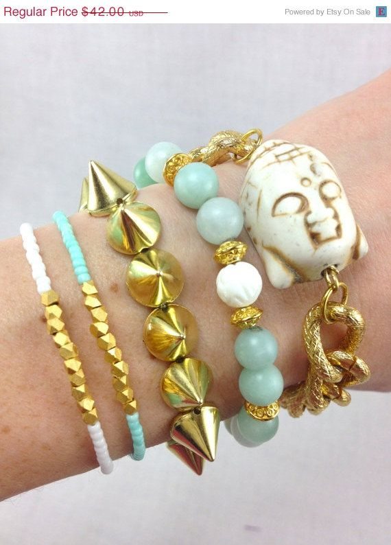 Buddhalicious+Mint+and+Gold+Bracelet+Stack+Set+by+dAnnonEtsy,+$37.80
