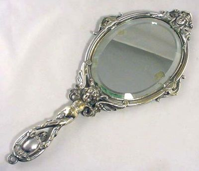 fancy hand mirror. Antique SILVER Plate ART NOUVEAU Hand MIRROR Nice! Fancy Hand Mirror Y