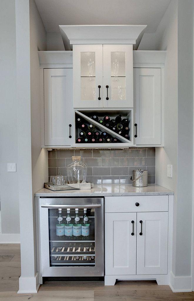 Wet Bar Cabinet Wet Bar Kitchen Off Dining Room Wet Bar With Grey Subwayt Tile Backsplash Wet Bar Kitchen C Home Kitchens Kitchen Renovation Kitchen Remodel
