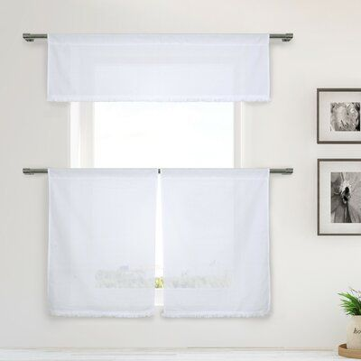Darby Home Co Calfee 3 Piece Semi Sheer Kitchen Curtain Set Color White White Kitchen Curtains Kitchen Curtain Sets Curtain Sets