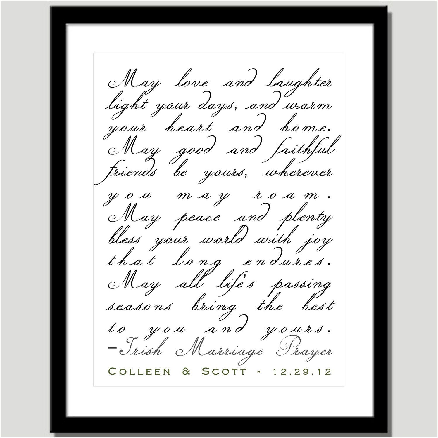 Irish Marriage Prayer Personalized - Great Wedding, Anniversary or ...