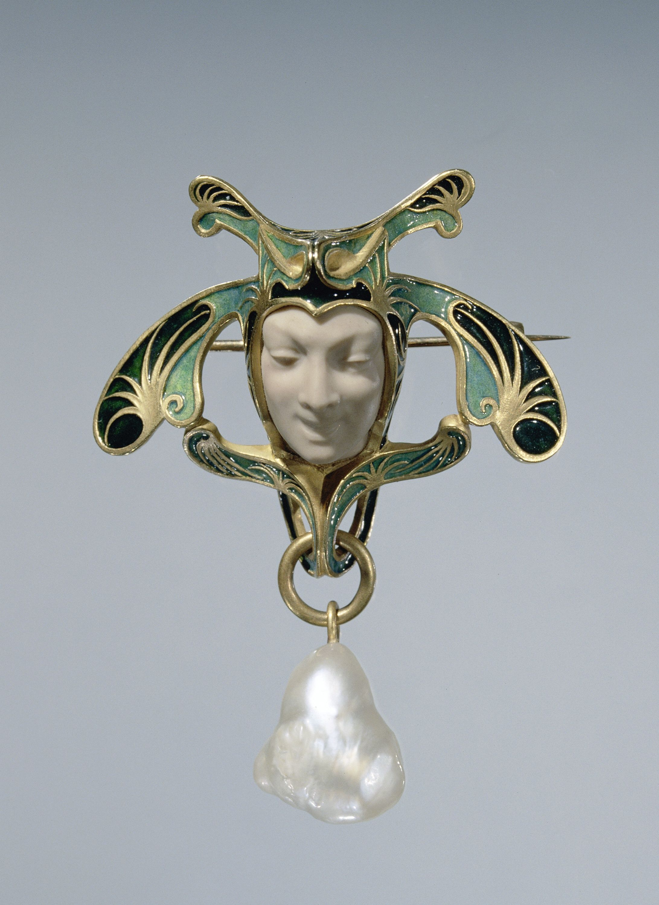 Gold and enameled brooch by René Lalique, circa 1897-1899