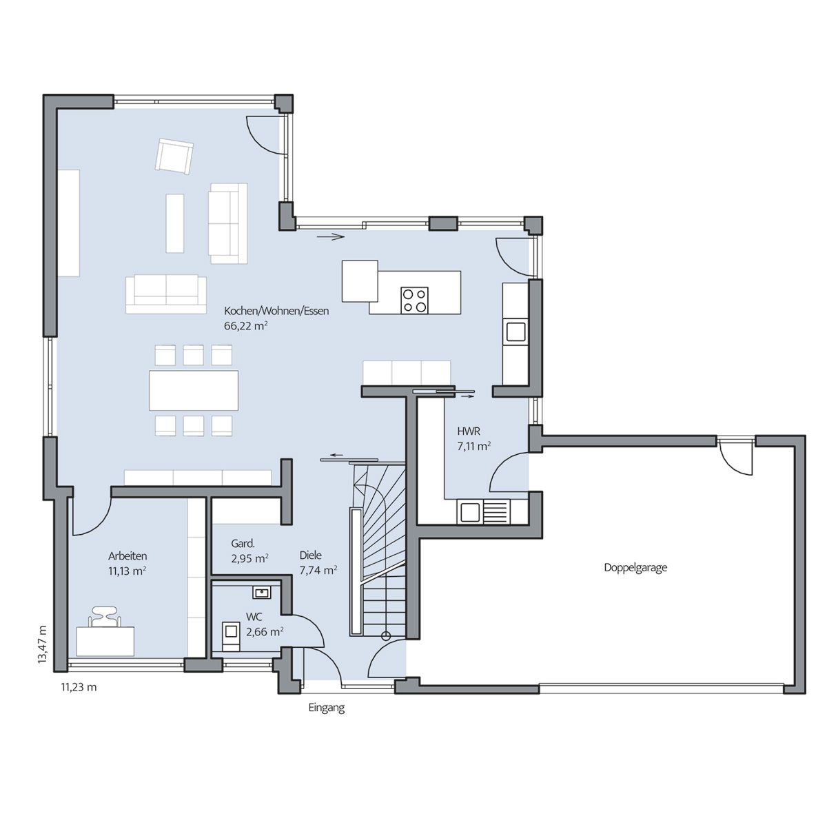 Haus mit doppelgarage grundriss  Haus-Schoenborn_Grundriss_EG_bemasst_col16-hg.jpg (1200×1200 ...