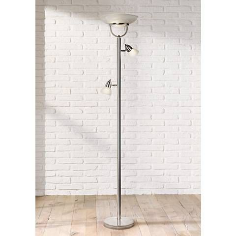 3 In 1 Brushed Nickel Modern Torchiere Floor Lamp 18028 Lamps Plus Floor Lamp Torchiere Floor Lamp Torchiere Lamp