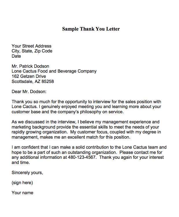 thank you letter interview template