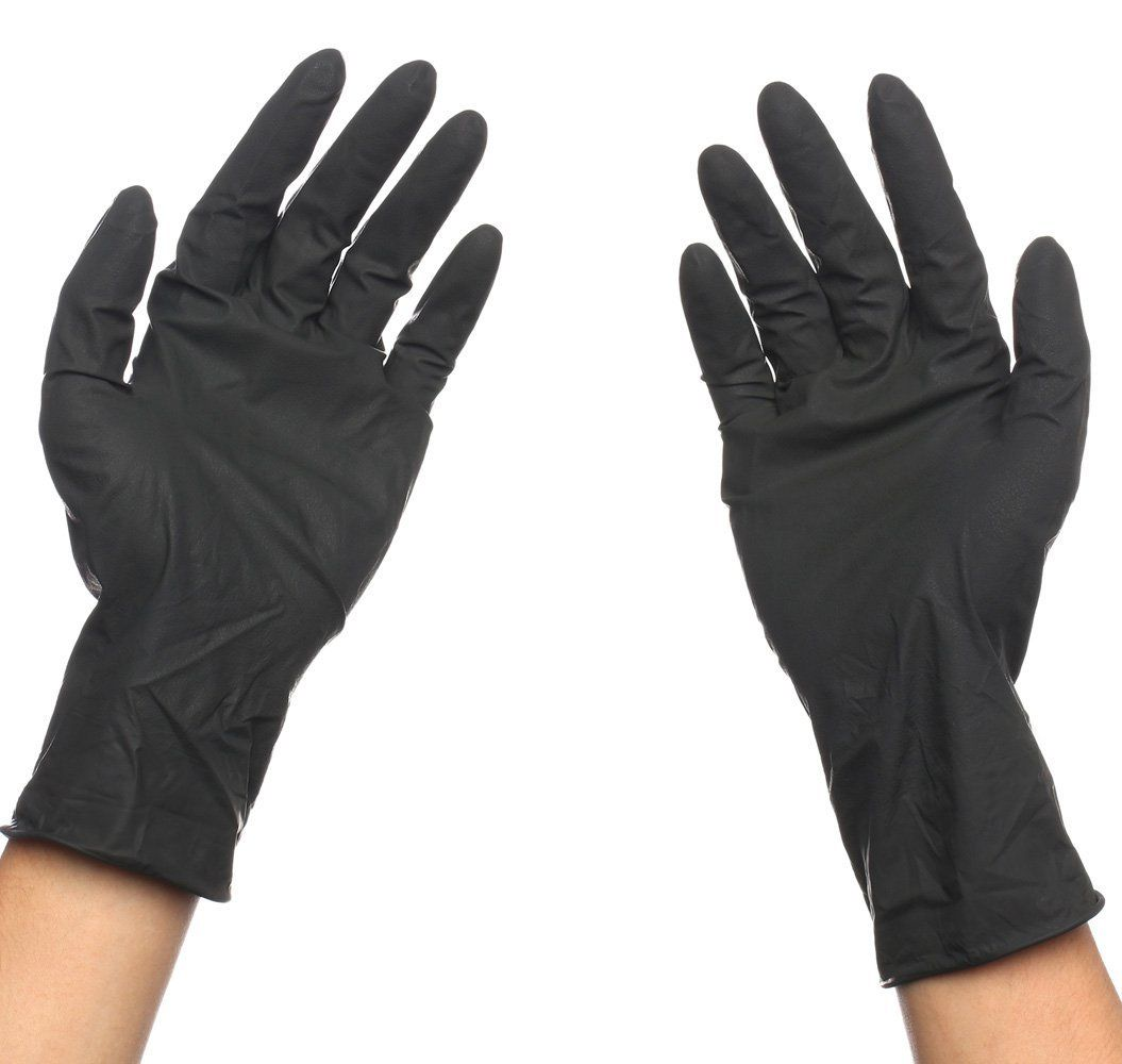 Black Reusable Latex Gloves Salon Hair Color Dye Gloves Medium Size