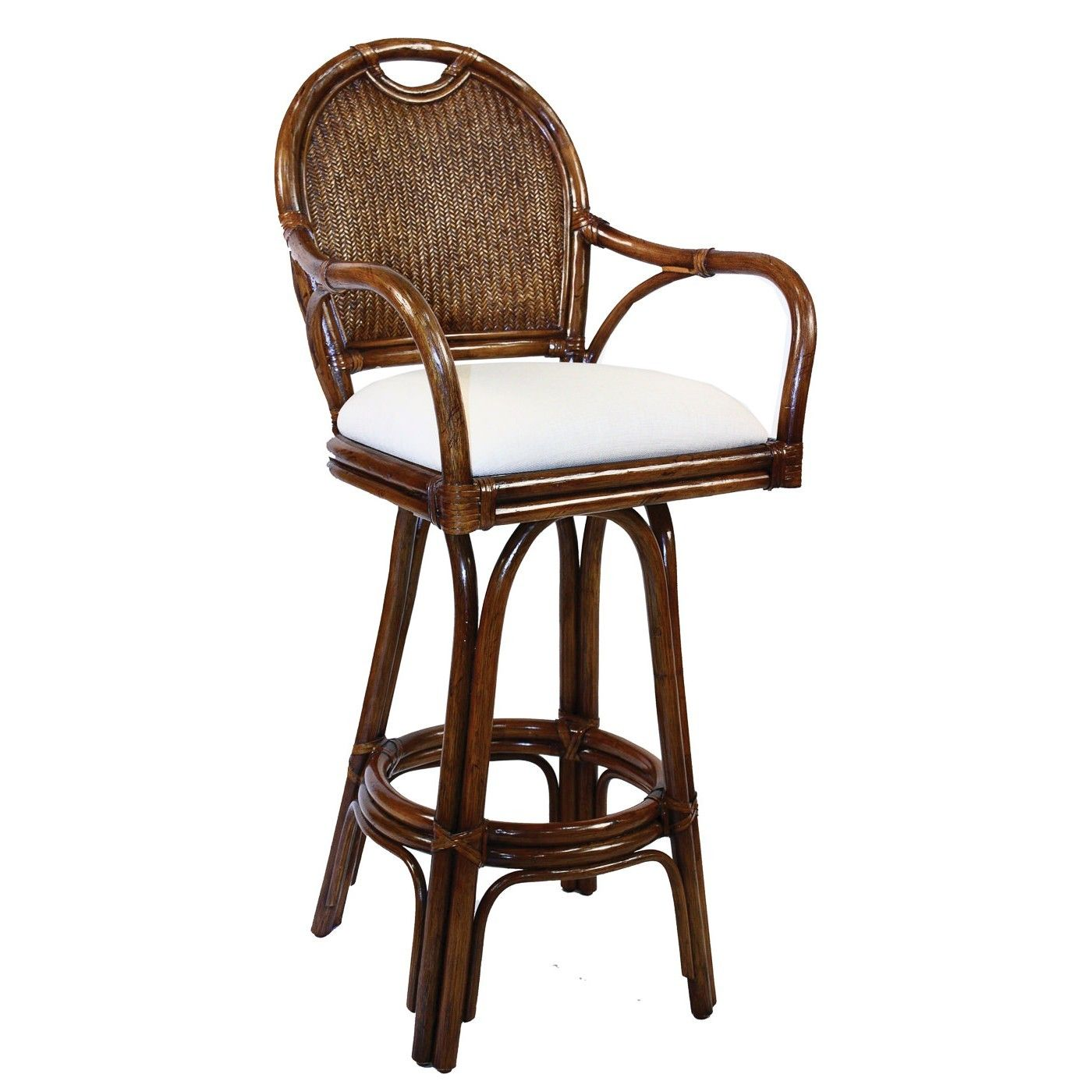 Furniture White Upholstered Bar Stool With Dark Brown Coated