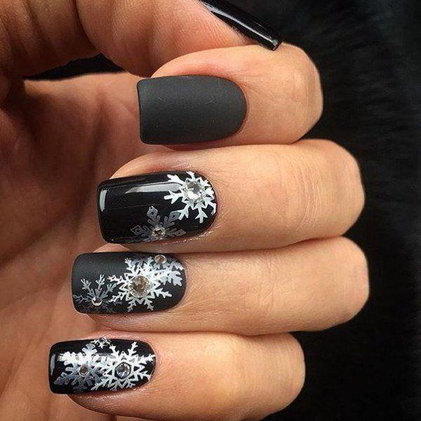 New year nail designs black nails white snowflakes rhinestones new year nail designs black nails white snowflakes rhinestones nail design ideas prinsesfo Choice Image